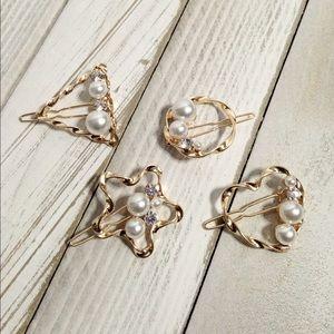 Star Heart Triangle Circle Pearl hair clips